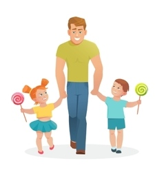 Happy father with daughter and son vector image vector image