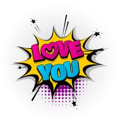love you heart comic book text pop art vector image