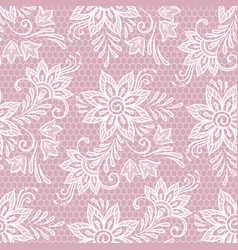 seamless lace floral pattern flowers on pink vector image vector image
