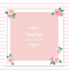 elegant square photo frame decorated with roses on vector image vector image