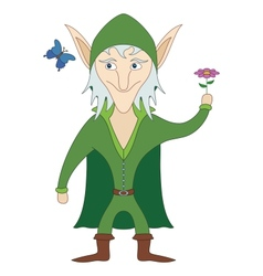 Elf with flower vector image