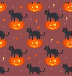 halloween pumpkin head with black cat pat pattern vector image vector image