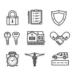 Handshake insurance icons vector image vector image