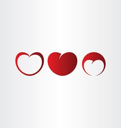 heart red love icon set collection vector image vector image