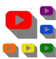 play button sign set of red orange yellow vector image