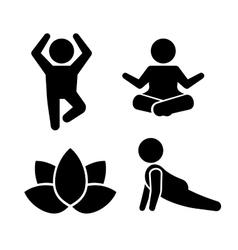 Yoga Meditation Poses Icons Set vector image vector image