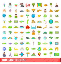 100 earth icons set cartoon style vector