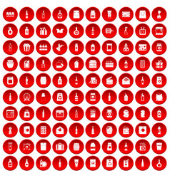 100 packaging icons set red vector