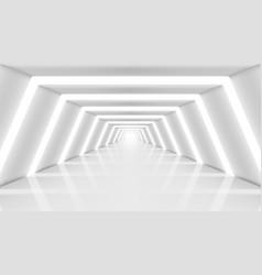 3d abstract future long corridor light interior vector image