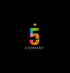 5 number grunge color rainbow numeral digit logo vector image