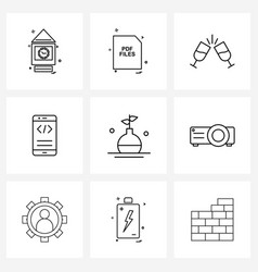 9 universal icons pixel perfect symbols test vector