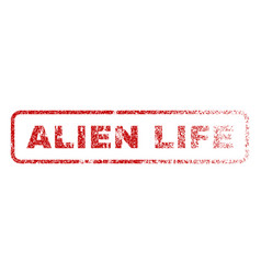 alien life rubber stamp vector image