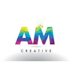 Am a m colorful letter origami triangles design vector