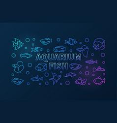 Aquarium fish colored horizontal banner in vector