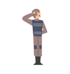 army soldier saluting military man character in vector image