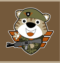 Army tiger cartoon special forces with rifle vector
