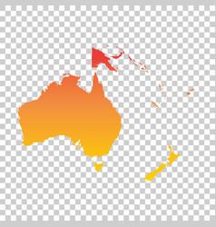 Australia and oceania map colorful orange vector