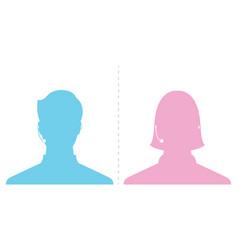 Avatar head profile silhouette call center male vector