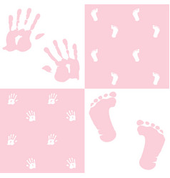 baby girl handprint footprint set vector image