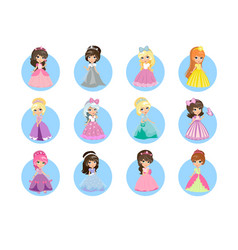 Beautiful cartoon princesses flat icons set vector