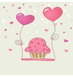 Birthday cupcake card vector