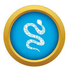 Black writhing snake icon blue isolated vector