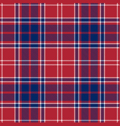Blue red and white patriotic tartan seamless vector