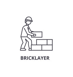Bricklayer line icon sign on vector