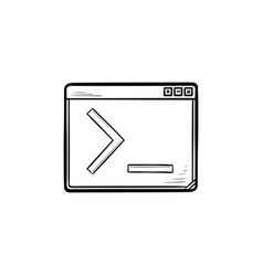 Browser window with command line hand drawn vector
