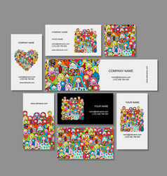 business cards set matryoshka russian nesting vector image