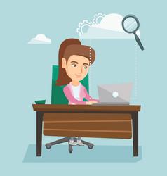 business woman using cloud computing technologies vector image