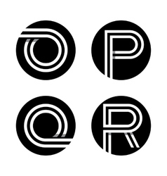Capital letters O P Q R In a black circle vector