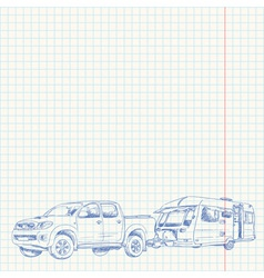 Caravan and car sketch vector