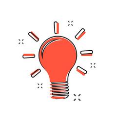 cartoon light bulb icon in comic style bulb idea vector image