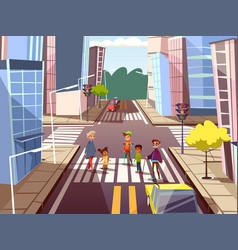 Cartoon people crossing road concept vector