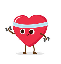 cartoon red heart with dumbbells vector image
