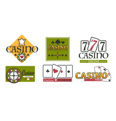 casino club gambling games isolated icons poker vector image