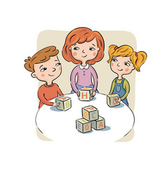 children at a table play toy cubes vector image