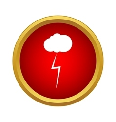 Cloud and storm icon simple style vector