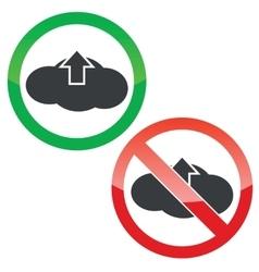 Cloud upload permission signs set vector image
