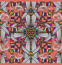 Colorful ethnic style intricate seamless pattern vector