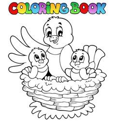 coloring book bird theme 1 vector image