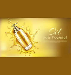 Cosmetics oil for hair essential product bottle vector