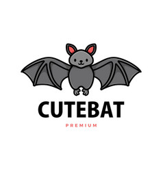 cute bat cartoon logo icon vector image