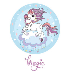 Cute cartoon unicorn blue vector