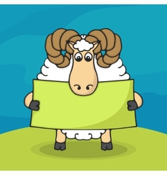 Cute hand drawn sheep with empty banner vector image