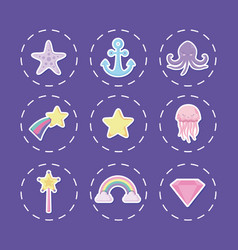 cute octopus with set icons vector image