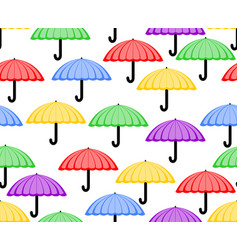 Cute seamless background with umbrellas in red vector