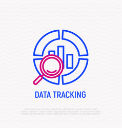 Data tracking thin line icon vector