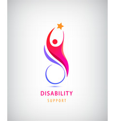 Disabled people support sport help logo vector